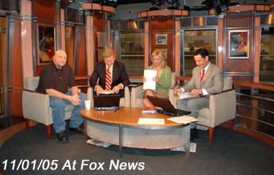 11/01/2005 On the set of Fox And Friends Morning Show For Hurricane Katrina Video for National Geographic Inside Hurricane Katrina Promo